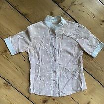 Gorman Blush-Coloured Scrab Print Button Up Shirt Size 8 Photo