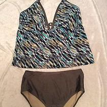 Gottex 18w Tankini Swimsuit Blue Green Modern Abstract Halter Keyhole Photo