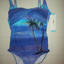 Gottex Aqua Blue Calypso 1 Piece Square Neck Tank Swimsuit Sz 10 Nwt Photo