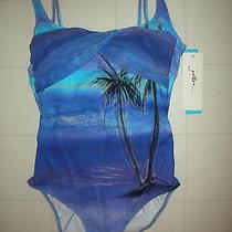 Gottex Aqua Blue Calypso 1 Piece Square Neck Tank Swimsuit Sz 10 Nwt Photo