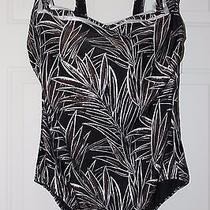Gottex Bamboo Metallic Square Neck Swimsuit    Blk/choc/silver  24w Photo