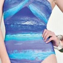 Gottex Calypso Draped Halter Blue One Piece Swimsuit Sz 8 Photo