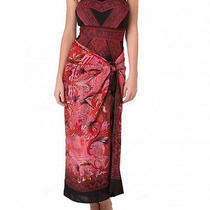 Gottex Indochine Red 100% Silk Swimsuit Full Sarong Pareo Cover Up O/s Nwt 198  Photo