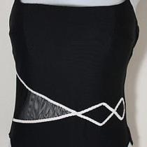 Gottex Navy & White Sheer Paneled 1-Pc Swimsuit 6 Photo