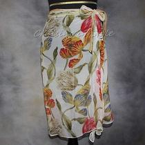 Gottex New Swimsuit Coverup Wrap Sarong Coverup 100% Silk White Image Sz S Photo
