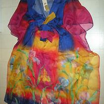 Gottex Robot Flower 100% Silk Tunic Sarong Sz Large Nwt   Photo