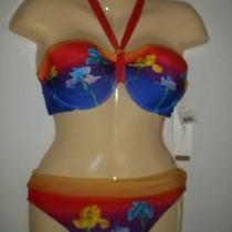 Gottex Robot Flower Halter  Bikini  Sunset  Sz 12   Nwt Photo