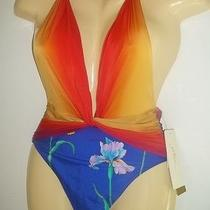 Gottex Robot Flower Halter  Swimsuit Sunset  Sz 10  118 Nwt Photo