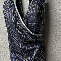 Gottex -Size 16 -One Piece v Neck Swimsuit-Navy With Silver Trim Nwot Photo
