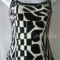 Gottex Swimsuit New Animal Print Tank Sz 8 Black White Bathing Suit Nwt 1 Piece Photo