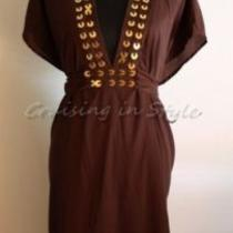 Gottex Swimsuit New Cover-Up Sarong Dress Nwt Brown Gottex Cimaron Swimsuit S  Photo