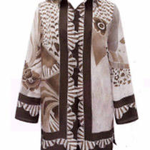 Gottex Swimsuit New Designer Cover Up 100% Silk Shirt Art Deco Sz Small Browns Photo