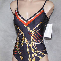 Gottex Swimsuit New Navy Blues Marine Yacht Club Tank Bathing Suit One Piece 8  Photo