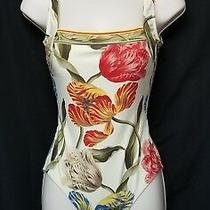 Gottex Sz 38 Eu Cream Tulip Print Slimming Down Swimsuit in Perfect Condition Photo