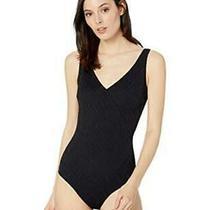 Gottex Women's Textured Surplice One Piece Swimsuit Black Size 10.0 6ea2 Photo