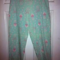 Govango Sz 10 Aqua Pink Dolphin Palm Tree Print Back Zip Crop Pants Runs Small Photo