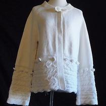 Grace Element Ivory Cotton Blend Open Front Cardigan Size L Photo