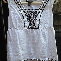 Grace Elements-14-All Linen-White W/black-Embroidery-Excellent Photo