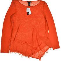 Grace Elements 3157 Size Medium M Orange Solid Pullover Sweater Fringed 60 Photo
