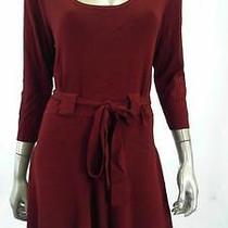Grace Elements Belted Womens Misses Knit a-Line Dress Sz Xl Cranberry Solid Sale Photo
