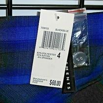 Grace Elements Black and Blue Plaid Pencil Skirt 7 Inch Slit Zip Back Size 4 Nwt Photo