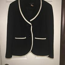 Grace Elements Black Boiled Wool Blazer Jacket Ladies 12 Photo