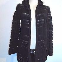Grace Elements Black Cotton Loose Knit/crochet Open Front Hooded Sweater Sz L Photo