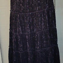 Grace Elements Black Crushed Velvet Prairie Skirt 8 New Photo