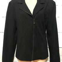 Grace Elements Black Dressy Jacket Blazer Top Zip Up Size 12 Womens N47 Photo