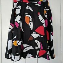 Grace Elements Black Multi Color Cotton Skirt Size 4 Sale Photo