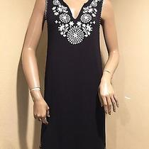 Grace Elements Black Sleeveless Dress W/white Embroidery S Photo
