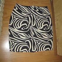 Grace Elements Black Tan Print Back Zip No Pock Back Vent Lined Mini Skirt  10 Photo