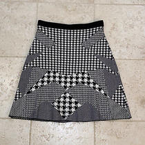 Grace Elements Black & White Mixed Pattern Flared Knit Skirt - Size Small - S  Photo