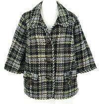 Grace Elements Blazer Sz 18w Brown Tweed Plaid Check Cotton Blend Blazer 18 W  Photo