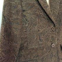 Grace Elements Blazer Womens Sz 6 Green Paisley Two Buttons Lined Career Jacket Photo