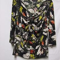 Grace Elements Blouse Shirt Top Xl 14/16 Bust 44 Green Multi Modern Print Photo