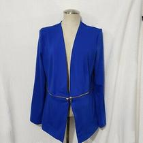 Grace Elements  Blue Blazer Cardigan Decorative Gold Zip Around Waist L Photo