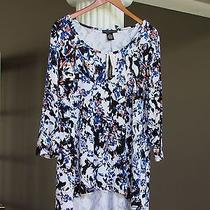 Grace Elements Blue White Coral Black Hi-Low Hem Tunic Top Size 1x Nwt 68  Photo