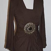 Grace Elements Brown Bell Sleeve Large Medallion Shirt Top Size Small S Photo