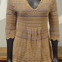 Grace Elements Brown Loose Crochet Knit v Neck Cropped Sleeve Sweater - Medium Photo