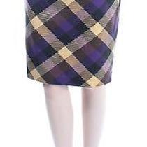 Grace Elements Brown Purple Plaid Below the Knee Pencil Skirt Xs Bb Photo