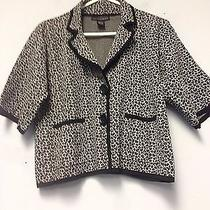 Grace Elements Button Sweater Knit Cardigan Jacket Sweater Leopard Print Photo