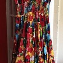 Grace Elements Cap Sleeves Peasant Cotton Xl Floral Red Multi Tea Dress Midi Photo