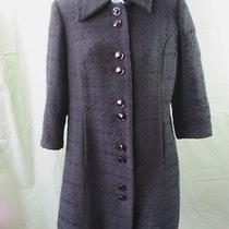 Grace Elements Coat 4 Black Acrylic Blend 3/4 Sleeve 60s Retro Look Textured Photo