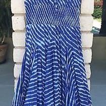 Grace Elements Cotton Smocked Waisted Dress Navy / White Size S Photo