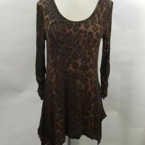 Grace Elements Dark Brown Long Sleeve Round Collar Loose Shirt Size S Photo