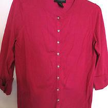 Grace Elements Dark Hot Pink Fuschia 3/4 Sleev Button Cardigan Sweater Top Pet M Photo