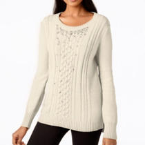 Grace Elements Embellished Cable Knit Pull Over Sweater Ivory Xl Photo