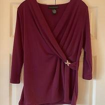 Grace Elements Faux Wrap v-Neck 3/4 Sleeve Blouse Top Sz M in Violet Photo