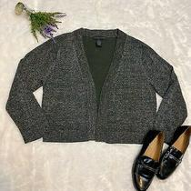 Grace Elements Gray Shimmer Open Front Cardigan Sweater Size Xl Metallic Threads Photo